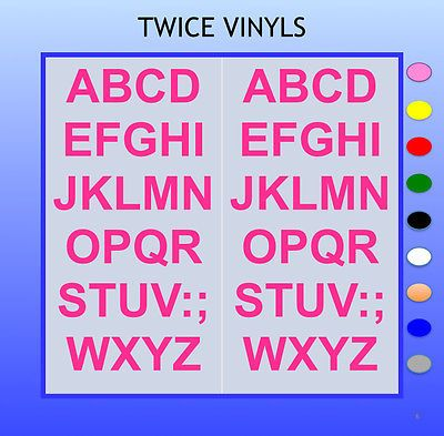 sticky letters 40mm high vinyl alphabet set a z arial any colour